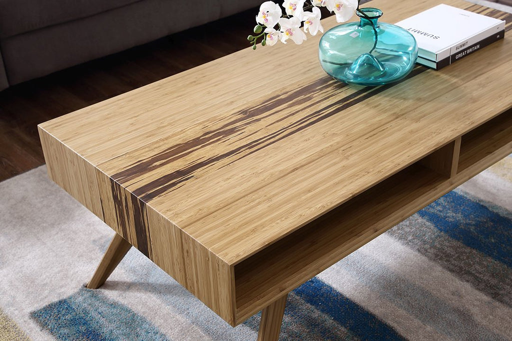 Greenington's Modern and Sustainable Azara Solid Bamboo Occasional Coffee Table in Caramelized Finish with Exotic Tiger Accent