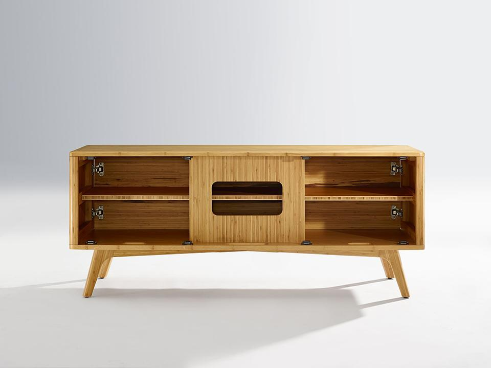 Greenington's Modern and Sustainable Azara Solid Bamboo Occasional Media Entertainment Cabinet in Caramelized Finish with Exotic Tiger Accent