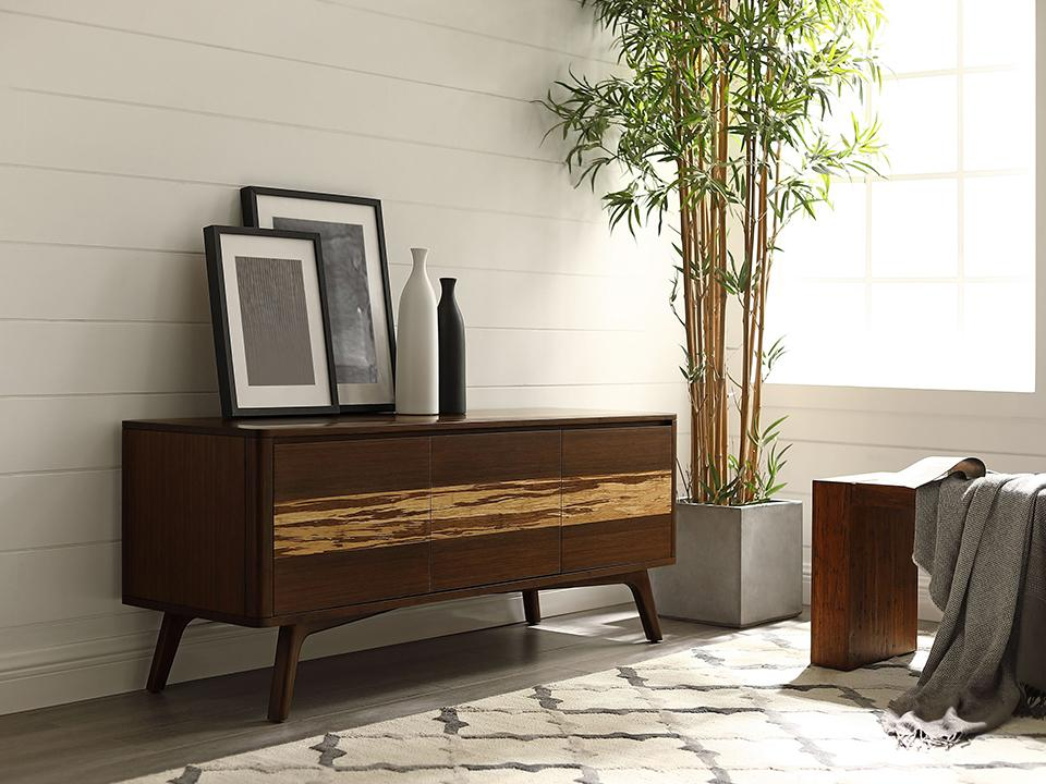 Greenington's Modern and Sustainable Azara Solid Bamboo Occasional Media Entertainment Cabinet in Sable Finish with Exotic Tiger Accent