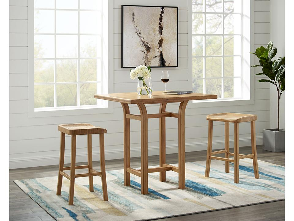 Greenington's Modern and Sustainable Tulip Solid Bamboo Bar Height Stool in Caramelized Finish