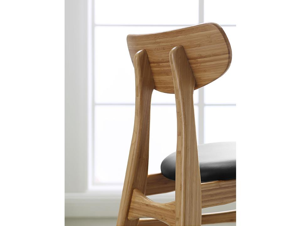 Greenington's Modern and Sustainable Cassia Solid Bamboo Dining Chair with Leather Seat in Caramelized Finish