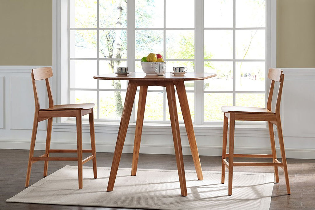 Greenington's Modern and Sustainable Cosmos Solid Bamboo Bar Height Table in Caramelized Finish