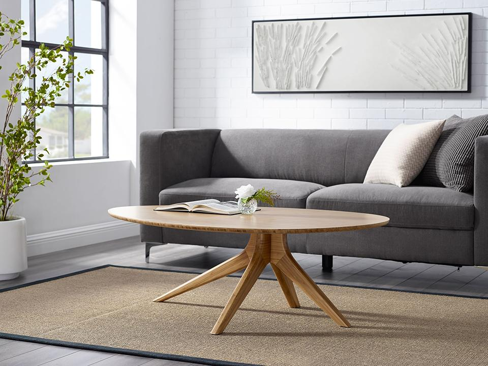 Greenington's Modern and Sustainable Rosemary Solid Bamboo Occasional Coffee Table in Caramelized Finish