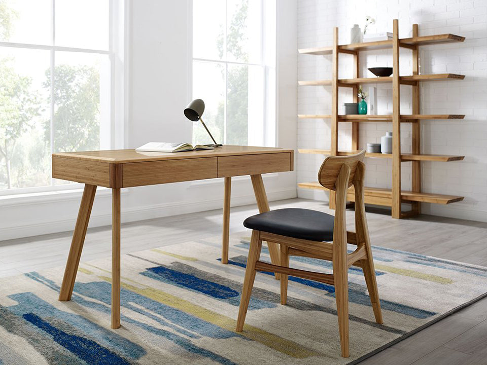 Greenington's Modern and Sustainable Jasmine Solid Bamboo 2 Drawer Writing Desk in Caramelized Finish