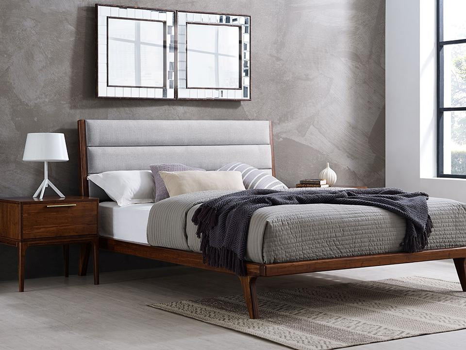 Greenington's Modern and Sustainable Mercury Queen Solid Bamboo Upholstered Platform Bed in Exotic Finish