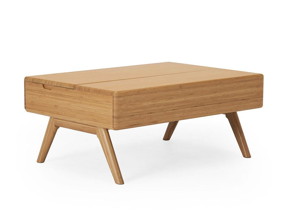 Greenington's Modern and Sustainable Rhody Lift Top Solid Bamboo Occasional Coffee Table in Caramelized Finish