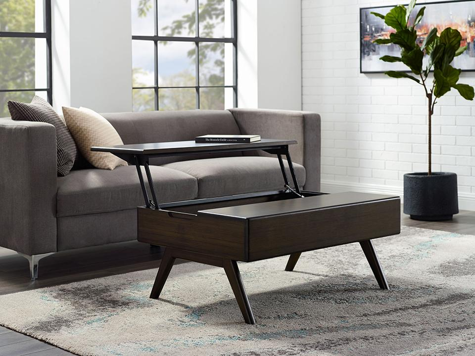 Greenington's Modern and Sustainable Rhody Lift Top Solid Bamboo Occasional Coffee Table in Havana