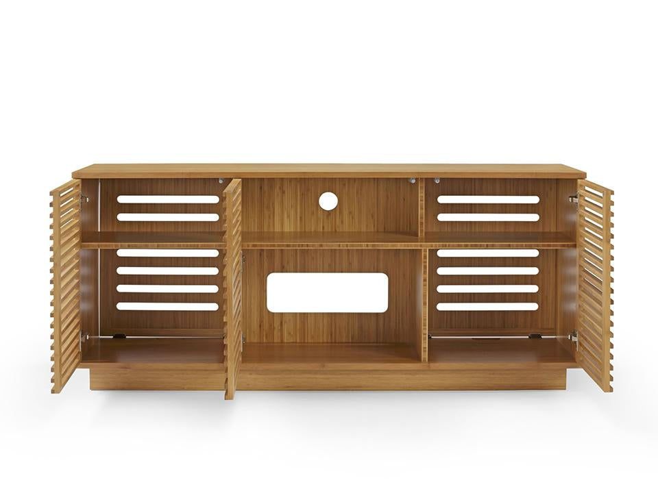 Greenington's Modern and Sustainable Rowan 64 in. Solid Bamboo Entertainment Media Center in Caramelized Finish