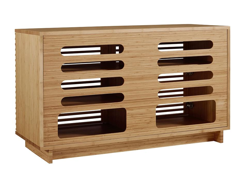 Greenington's Modern and Sustainable Rowan 48 in. Solid Bamboo Entertainment Media Center in Caramelized Finish