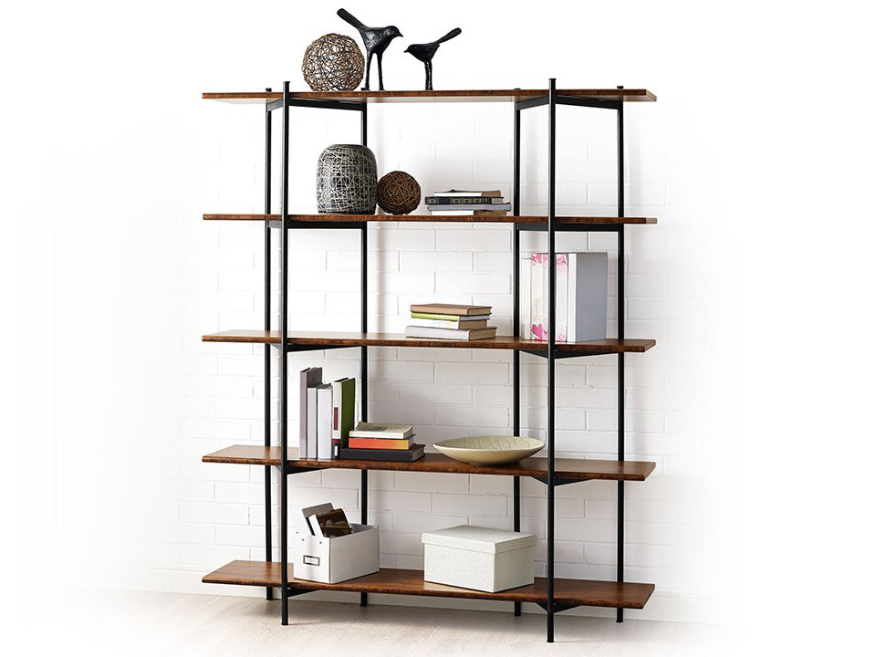 Greenington's Modern and Sustainable Studio Line Solid Bamboo Shelf with Black Steel in Exotic Finish