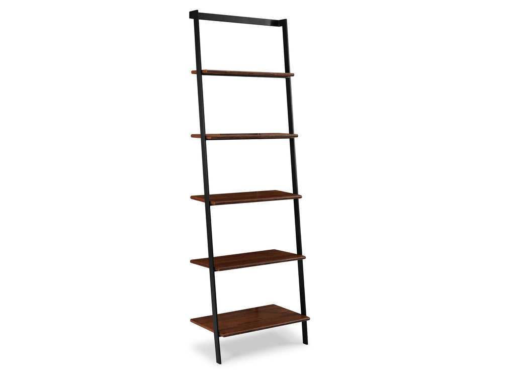 Greenington's Modern and Sustainable Studio Line Leaning Solid Bamboo Shelf with Black Steel in Exotic Finish