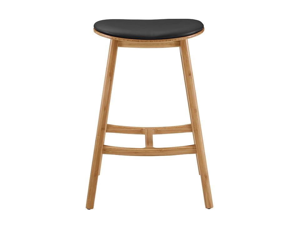 Greenington's Modern and Sustainable Skol Solid Bamboo Counter Height Stool with Leather Seat in Caramelized Finish