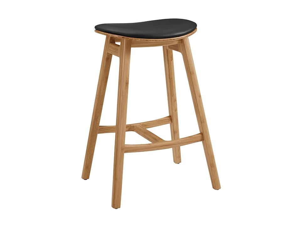 Greenington's Modern and Sustainable Skol Solid Bamboo Bar Height Stool with Leather Seat in Caramelized Finish