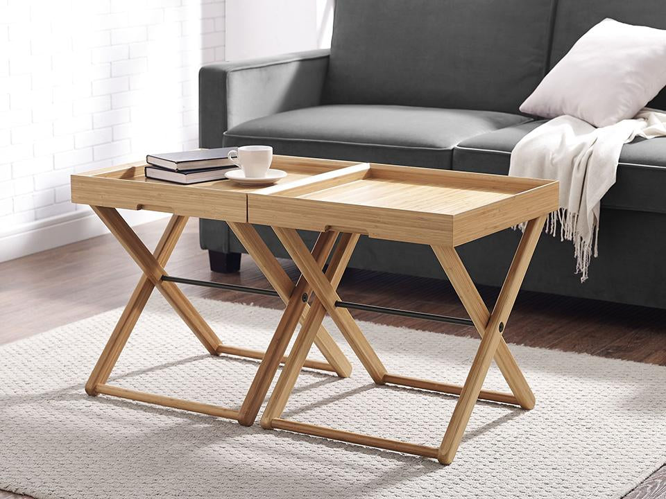Greenington's Modern and Sustainable Teline Solid Bamboo Occasional Folding Tray Table in Caramelized Finish