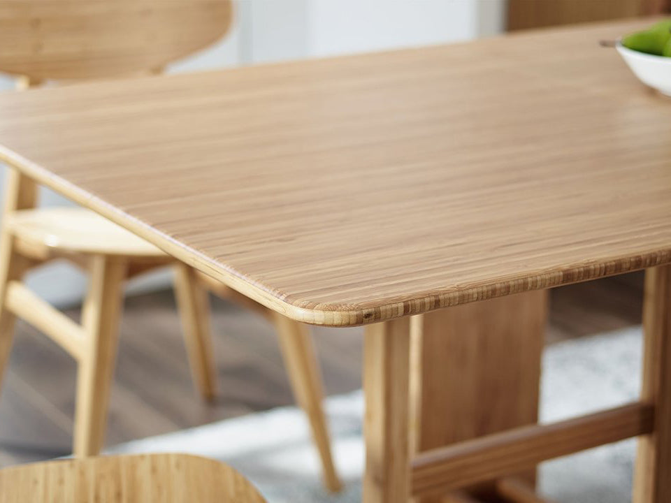 Greenington's Modern and Sustainable Linden Solid Bamboo Extension Dropleaf Gateleg Dining Table in Caramelized Finish