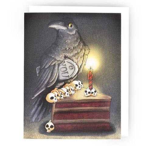 Crow Getting Old Birthday Card