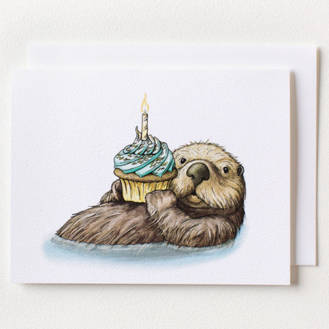 Otter Birthday Card - Box of 8