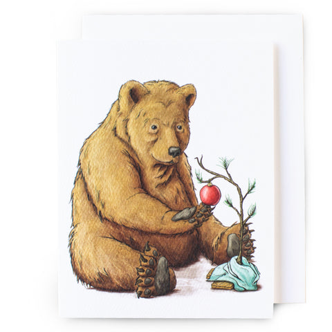 Brown Bear Christmas Card