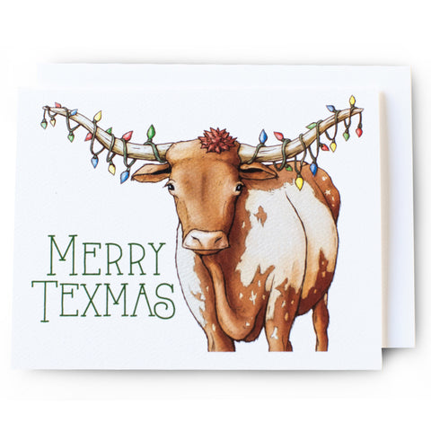 Merry Texmas Longhorn Christmas Card