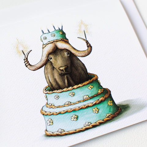 Water Buffalo Birthday Card