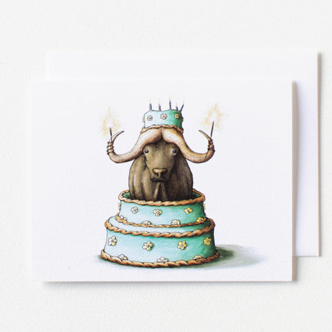 Water Buffalo Birthday Card - Box of 8