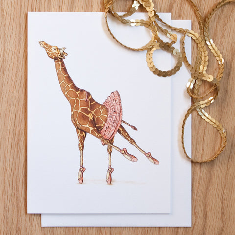 Ballet Giraffe 5x7 Frameable Art Card