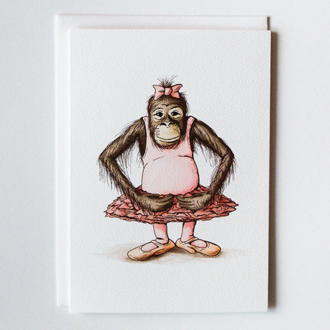 Ballet Orangutan 5x7 Frameable Art Card