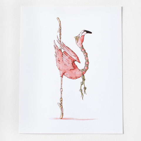 Ballet Flamingo Art Print 8x10