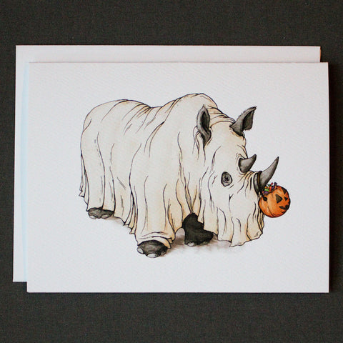 Halloween Rhino Note Card - Box of 8