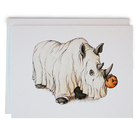 Halloween Rhino Note Card