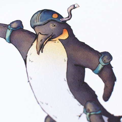 Skateboard Penguin Art Print 8x10