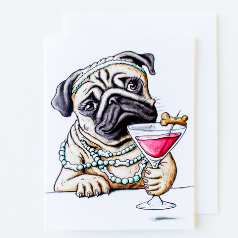 Pug Happy Hour Card (All Occasion) - Box of 8