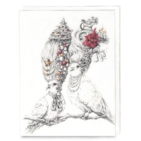 Turtle Doves Rococo Christmas Card 8-pack