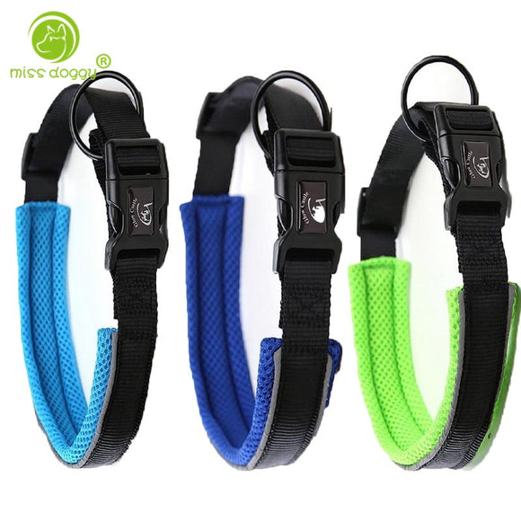 Deluxe Comfort Mesh Padded Nylon Webbing Pet Dog Collar Adjustable Outdoor Adventure Reflective Collars for Medium Large Dogs