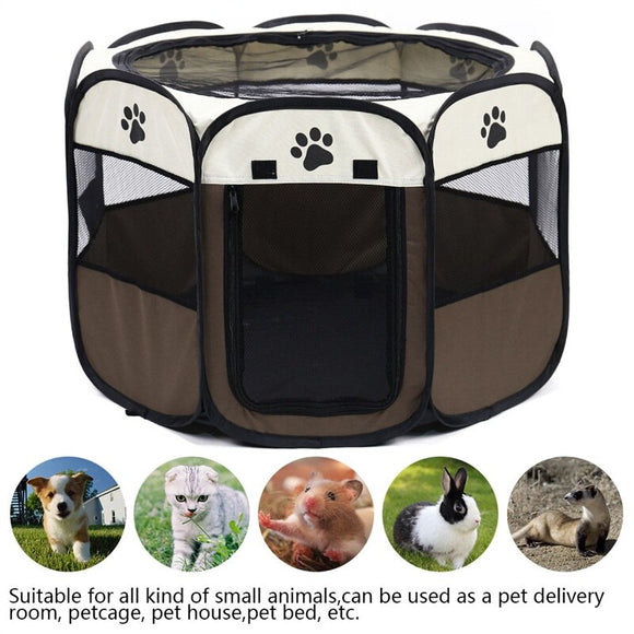Portable Folding Pet Carrier Tent Dog House Playpen Multi-functionable Cage Dog Easy Operation Octagon Fence Breathable Cat Tent