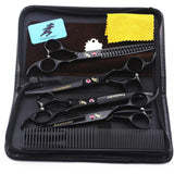 "7 ""Professional pet grooming kit, direct and thinning scissors and curved pieces 4 pieces. ,technicolor black"