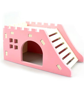Pet Hedgehog Castle Toy Pet House Viewing Deck Ladder Pet Products 1 PC Hamster House Hamster Nest Wooden