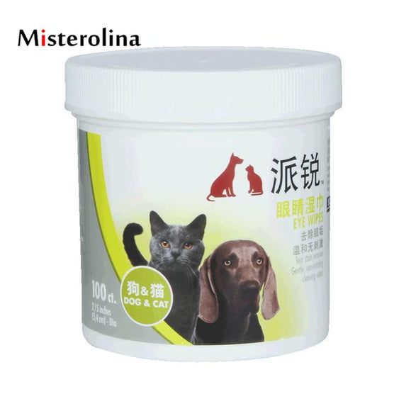 Misterolina Cat Grooming Supplies Aloe Pet Eyes Wet Wipes Cat Dog Beauty Cleaning Eye Excrement Wipes 5.4cm Pet Health Product