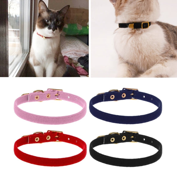 Pet Cat Collar Safety for Small Dog Cat Elastic Adjustable Soft Velvet Material