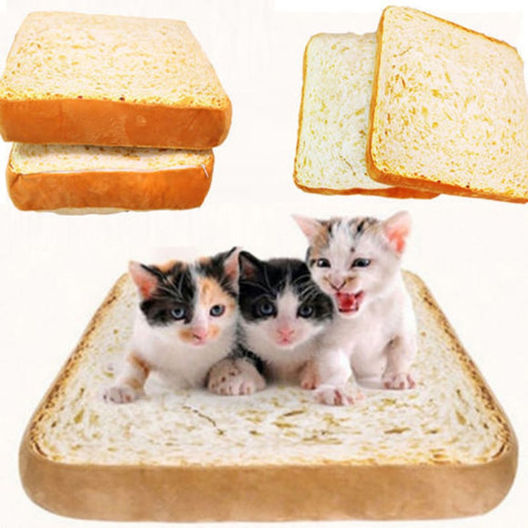 1pc Bread Toast Cat Bed Mat Soft Fleece Puppy Cushion Detachable Wash Small Dog Bed for Chihuahua 40*39*7cm High Quality