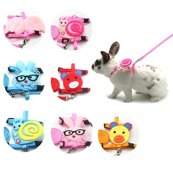 Cartoon Rabbit Vest Harness Leash Soft Adjustable Bunny Transaction Rope for Small Animals Hamster Walking Small Pet Supplies