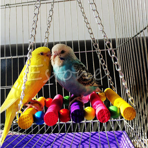 Small Birds Toys Pet Toy Accessories Drawbridge Bridge Wooden Singing Cockatiel Cage Hammock Parrot Swing Toys Pet Products