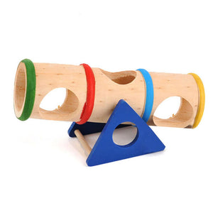 Colorful Wooden Hamster Seesaw Tube Tunnel Cage House Rainbow Barrel Pet Rat Mouse Mice Bucket Nest Playground Toy