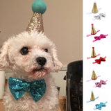Crown & Bow Tie Pet Hair Pin Dog Puppy Birthday Hat Party Costume Headwear Decoration