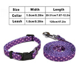 120cm Small Pet Dog Nylon Leash Collar Set Adjustable Quick Release Cat Necklace Leashes Sets for Puppy Cats Pet Outdoor Bulldog