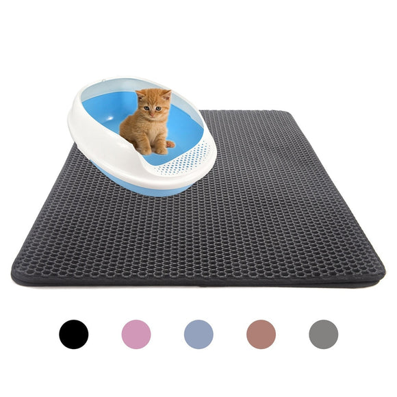 Pets Cats Litter Mat Bed House Floor Double Layer EVA Leather Waterproof Bottom Catcher Home Mat Portable Wearable Cat Products