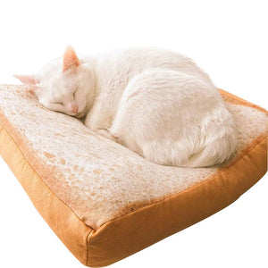 pawstrip Bread Toast Cat Bed Mat Soft Fleece Puppy Cushion Detachable Wash Small Dog Bed For Chihuahua 37*37*6.5cm