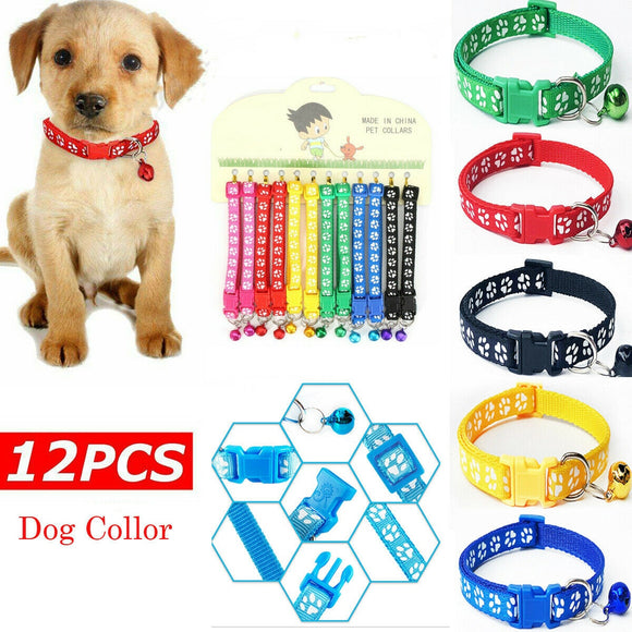 12PCS/Lot Dog Collars Pet Cat Puppy Color Buckle Nylon Collar W/Bell Wholesale