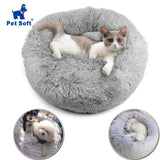 Pet soft Plush Round Pet Bed for Cats or Small Dogs Round Plush Cat Bed Self-Warming Plush Cushion Warm Sleeping Puppy Bed