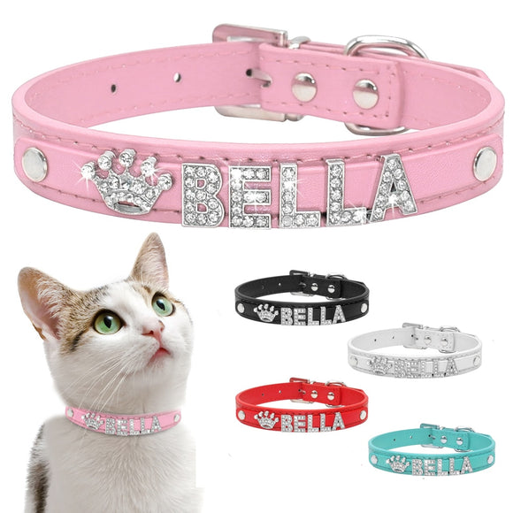 Personalized Cat Collar Rhinestone Puppy Small Dogs Collars Custom for Chihuahua Yorkshire Free Name Charms Cat Accessories